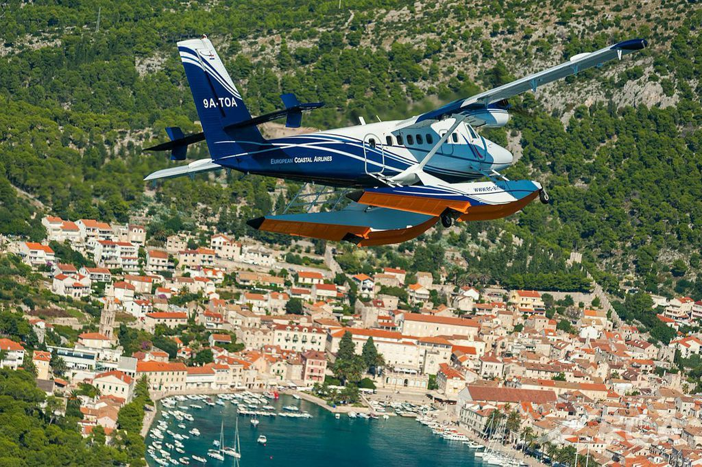 European Coastal Airlines Seaplane Docks at Island of Vis
